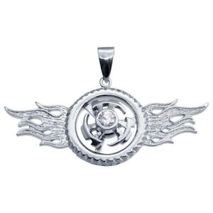 Sterling Silver Spinner Hip Hop Pendant w/ Cubic Zirconia Stone