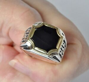 Konstantino Mens Octagonal Black Onyx Ring Sterling Silver Bronze Sz 10 Arc New