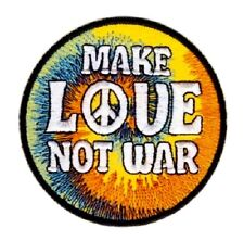 Make Love Patch Not War CND Peace Anti Embroidered Iron Sew On Applique Hippy
