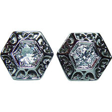 ART DECO Old European cut Diamond Solitaire Stud Filigree Earrings Platinum