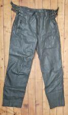Vintage Punk Rock Motorcycle Biker Gray Fully Lined Leather Pants Men's 31 x 32