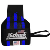 Schiek Sports Blue Line Heavy Duty Rubber Reinforced Wrist Wraps - Black/Blue