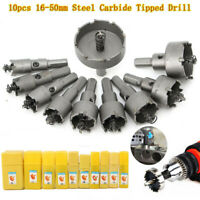 10x Carbide Tip TCT Hole Saw Cutter Drill Bit Set For Steel Metal Alloy 16-50mm