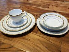 Noritake HAMPSHIRE GOLD 4335 Fine Porcelain 7 Pc Place Setting dinner plate bowl