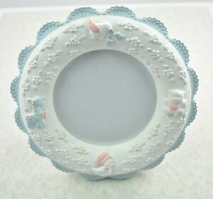 Baby Picture Frame RUSS BERRIE CO Standing White Blue Lace Duck  Bear Pastels
