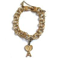 "Vintage Monet Bracelet Gold Tone Charm Bracelet Monet Tennis Charm 7"""