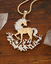 "Unicorn Pendant Necklace China Handcut Coin 14K& Rhodium Plated 1-1/4"" ( # 462 )"