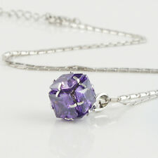 14k white Gold Filled GF purple crystals pendant necklace w chain