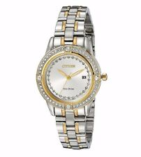 Citizen Eco-Drive Silhouette Women's FE1154-57A Crystal Accents Two Tone Watch