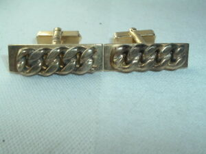 VINTAGE ANSON GOLD TONE CHAIN LINK RECTANGLE CUFF LINKS