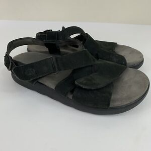 SAS Huggy Black Leather Sandals Women's Size 8W Wide Comfort Walking Cushioned