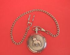 Staffordshire Bull Terrier Design Pewter Front Skeleton 24hr Pocket Watch Gift