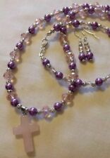 "Rosequartz Cross/pearl&crystal Necklace&earings+7.5""Bracelet/in A Box"