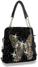 DAZZLING BLING RHINESTONE BUTTERFLY MESSENGER BAG PURSE BLACK