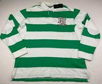 Ecko Unltd Marc Striped Rugby Polo Long Sleeve Shirt Green/White Men's XL NWT