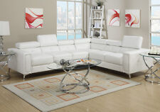 Contemporary L Shaped Sectional Sofa Couch Flip Headrests White Bonded Leather