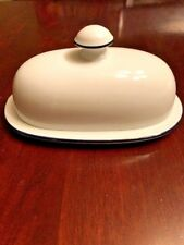 Dansk Bistro Christianhaven Butter Dish Covered Lidded Blue Stripe White Replace