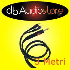 Proel DH525LU3 Cavo Audio Professionale da Jack Maschio 6.3 a 2 RCA Maschio 3 Mt