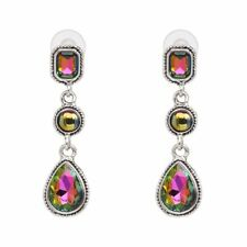 E0161 Silver Multi-Color Oil Spill Teardrop Dangle Post Earrings