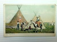 Vintage Postcard 1920's A Cross Venture Camp Flag Teepee's Cowboys