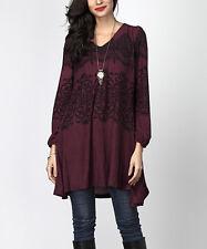 #J Slight Second Ladies Designer UK 18 Plum Lace-Print V-Neck Boyfriend Tunic