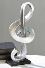 moderno escultura decoracin objeto clave plateado sobre negra base h cm