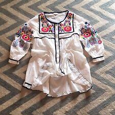 M New Anthropologie Embroidered Floral Folk Hippie Peasant Shift Dress Medium