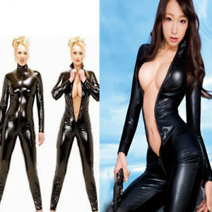 Jumpsuit Fancy Dress Catsuit Sexy Patent Leather Catwoman Bodysuit Party Costume