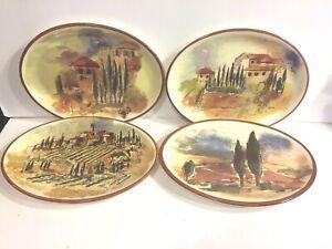 Williams Sonoma Tuscan Landscape Appetizer Plates - Set of 4 - MINT