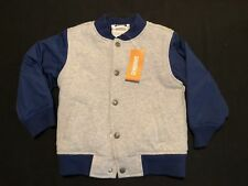 NWT Gymboree Boys Gray Blue Quilted Varsity Jacket Size 2T-3T