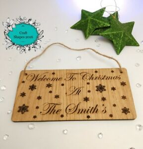Personalised Christmas Welcome Sign, Christmas plaque, Wooden personalised sign