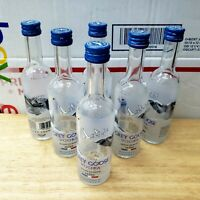 Lot Of 6 Grey Goose Vodka Mini 50 ml Airplane Liquor Bottles Glass Empty