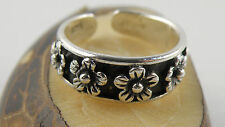 Sterling Silver Adjustable Toe Ring With Small Flowers Around It Size 3 - 4