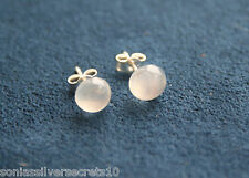 925 Sterling Silver Natural Moonstone Cabochon Earrings 6mm Round Stud STUDS