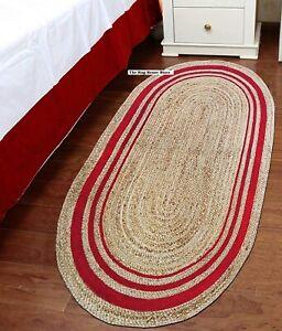Rug 100% natural jute reversible handmade modern oval rug carpet living area rug