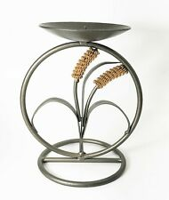 """Bronze Metal Pillar Table Top Candle Holder 7"""" ht with Wheat Display"""