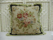 "18"" Roses Black Handmade Wool Needlepoint Cushion/Pillow Cover Free Shipping"