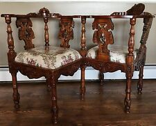Antique Victorian Era Hand Carved Wooden tête-à-tête Courting Bench Seat Chair