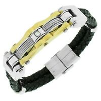 Stainless Steel and Black Leather Two Tone Crystals Unisex Bracelet