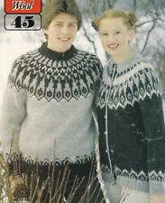 e1fdc01bf4e2 LADIES MEN S~ICELANDIC~SWEATER~CARDI~CHUNKY~KNITTING PATTERN SIZE 34