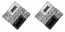 Clip On Eearrings - silver plated with clear crystals and black stone - Becky B