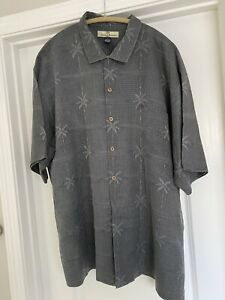 Tommy Bahama Shirt Button Down Mens XL Extra Large Gray Palm Tree Silk