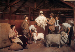 Australian Sheep Shearing Painting George Lambert Country Canvas Print A4