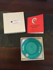 VINTAGE Teal COLORED PAIRPOINT CUP PLATE -cranberry World, MA - MINT
