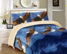 3 Piece Blue Horse Flannel Sherpa Blanket Ultra Soft Borrego Blanket Reversible