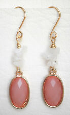 Peach opaque glass and rainbow moonstone chip drop earrings Approx. 5cm