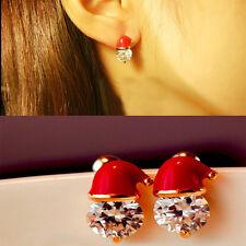 Fashion Santa Hat Crystal Stud Earrings Women's Earring Jewelry Christmas Gift