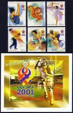 2001 Malaysia Sports XXI SEA Games 5v Stamps + Mascot + Miniature Sheet Mint NH