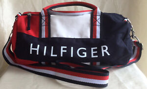 """Tommy Hilfiger  Medium Duffle Bag 14"""" X 8"""" X 8""""  New With Tag Blue W/Red & White"""