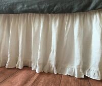 SPLIT CORNER EDGE RUFFLE GATHERED BED SKIRT 800-TC EGYPTIAN COTTON SOLID WHITE